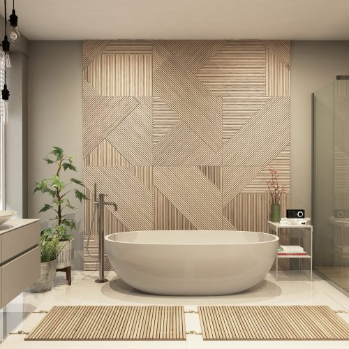 Modern,Bathroom,Interior,With,Wooden,Decor,In,Eco,Style.,3d